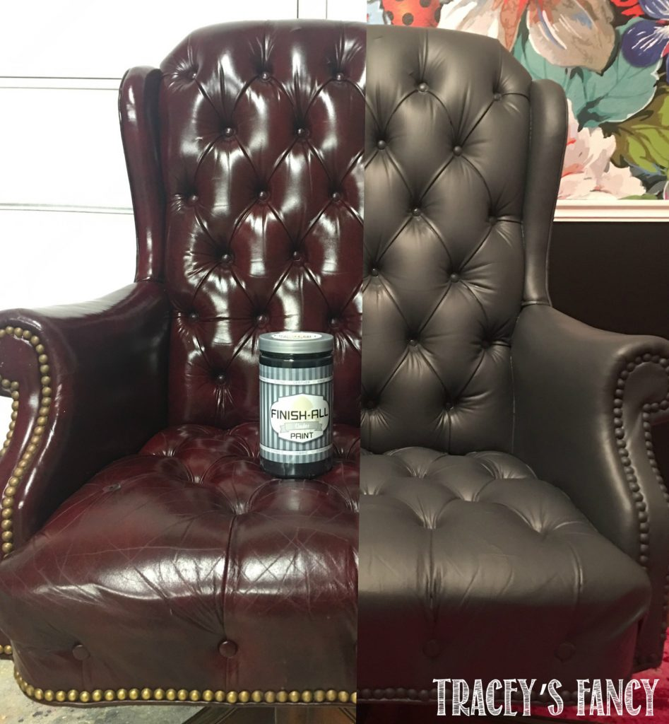 Superb Painted Gray Leather Chair By Traceyu0027s Fancy