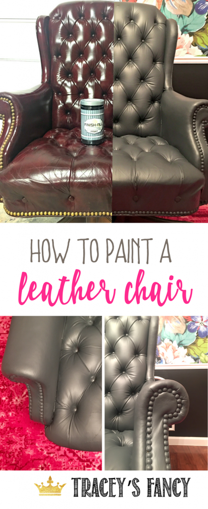 How to Paint a Gray Leather Chair by Tracey's Fancy | Office Chair Makeover | How to fix old leather chair | Revive Leather Furniture with Finish all