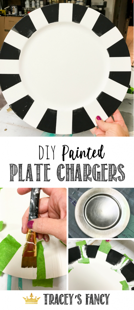 Black and White Striped Painted Chargers by Tracey's Fancy | DIY Gift Ideas | Tablescape Ideas | Table Decorating | Place Setting | DIY Decor | Painted Decor