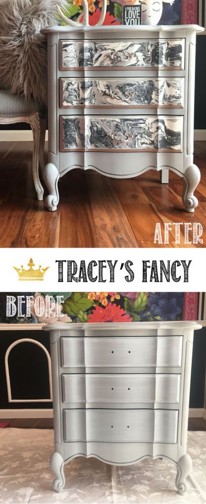 This is so unusual! Furniture painting has gone to the next level! This nightstand makeover now looks so expensive using Tracey's Fancy Marble Color Pour Technique | Neutral Gray Furniture | Color Pouring | Color Pour Furniture | Furniture Painting Tutorials | Furniture Makeover | DIY Furniture | Painted Furniture Inspiration |