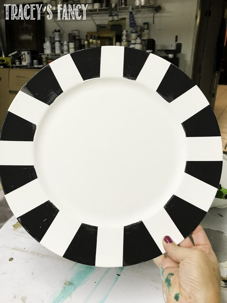 Black and White Painted Plate Chargers Tracey's Fancy