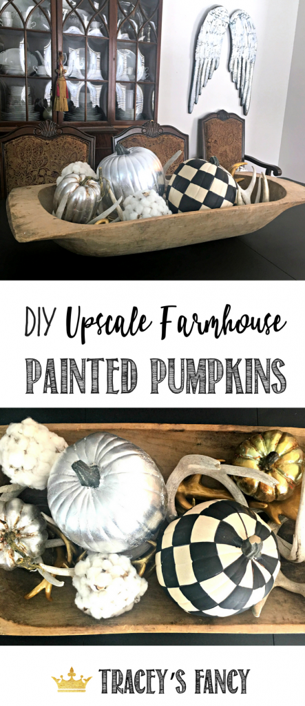 Upscale Farmhouse Pumpkins by Tracey's Fancy | No Carve Pumpkin Decorating Ideas | Silver Leafing Pumpkin | Painted Pumpkin Ideas | Halloween Decor | Fall TableScape Ideas | Fall Decorating Ideas