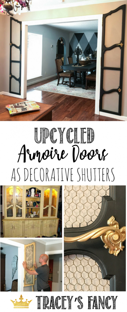 Decorating Idea: use armoire doors as decorative wall shutters and wall art! Repurposed Furniture Idea by Tracey's Fancy | Unused Furniture Doors | French Doors | Wall Art Ideas | Home Office Ideas | How to Decorate a Wall Opening