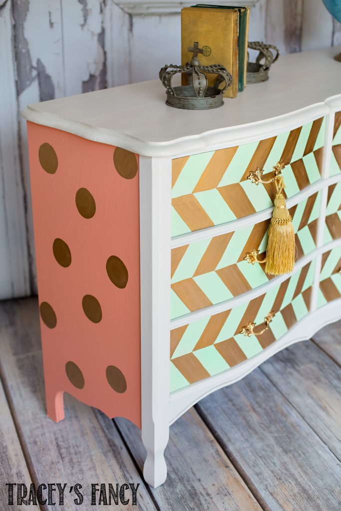 Mint Green and Coral Dresser … with Gold Herringbone