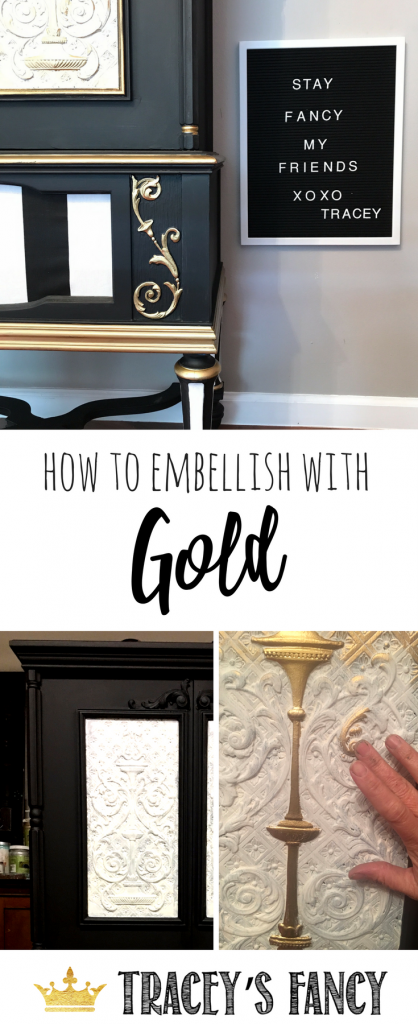How to Embellish Furniture with Gold Rub n Buff Tracey's Fancy | Painted Radio Cabinet | Rub N Buff Gold | How to Paint Furniture | Furniture Painting Tips and Tricks | Gold Furniture | Metallic Furniture