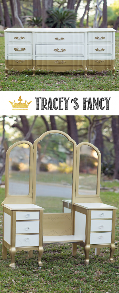 White and Gold Furniture by Tracey's Fancy | Metallic Furniture | DIY Furniture | Painted Furniture | How to Paint Furniture | Gold Dresser | Gold Vanity
