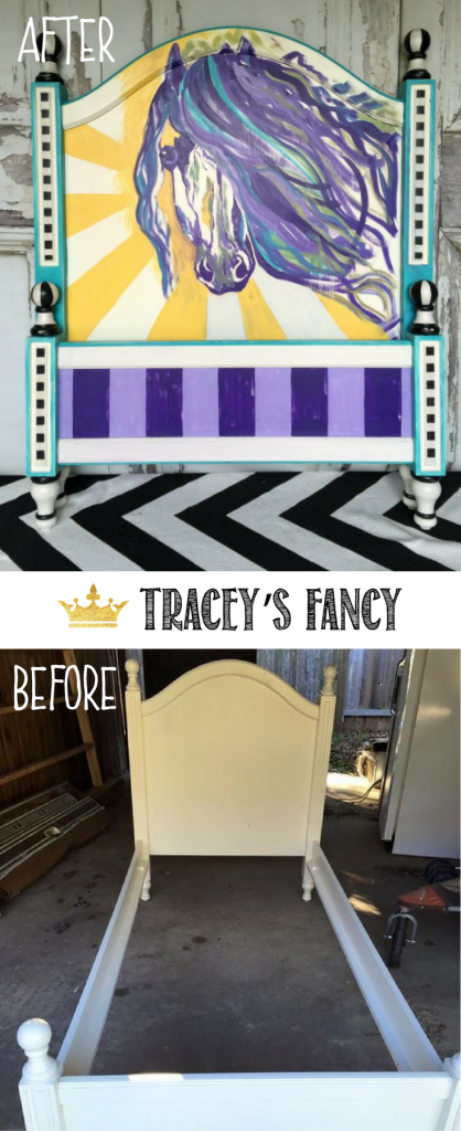 Painted Horse Headboard by Tracey's Fancy _ Bed Makeover _ Headboard Makeover _ Children's Room Furniture _ Girls Room Furniture | Girls Bedroom Furniture | Painted Headboard Ideas