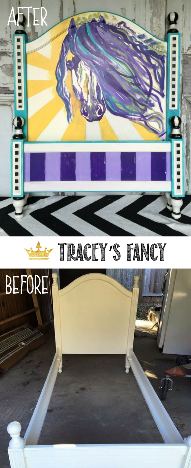 Painted Horse Headboard By Traceyu0027s Fancy _ Bed Makeover _ Headboard  Makeover _ Childrenu0027s Room Furniture