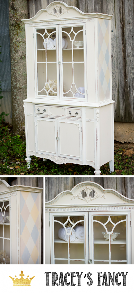 White Farmhouse Hutch Makeover by Tracey's Fancy | How to Paint Neutral Furniture | Furniture Painting Tips | Creams, White Paint Color Combinations | Farmhouse Furniture | farmhouse furniture | China Cabinet Makeover