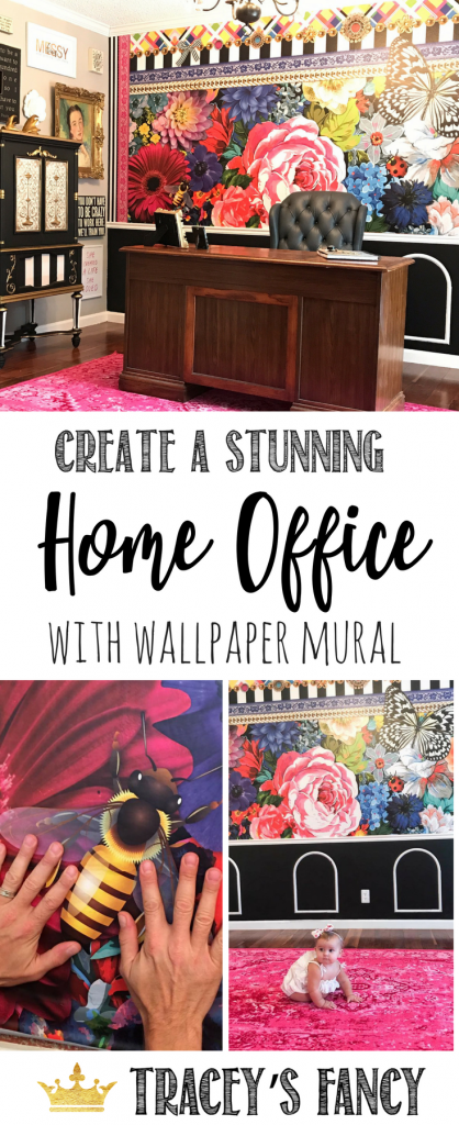 Wallpaper Mural in my Home Office by Tracey's Fancy | Wallpaper Accent Wall | Feature Wall | Floral Wallpaper | Home Office Ideas | Photograph Backdrop Ideas | Mellimello Jema Wallpaper