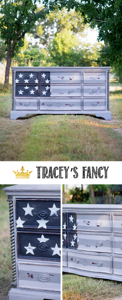 American Flag Dresser in Grays by Tracey's Fancy | Boys Room Furniture Ideas | Painted DReser | Gray Furniture | Patriotic Furniture | Boys Furniture | Boys Dresser