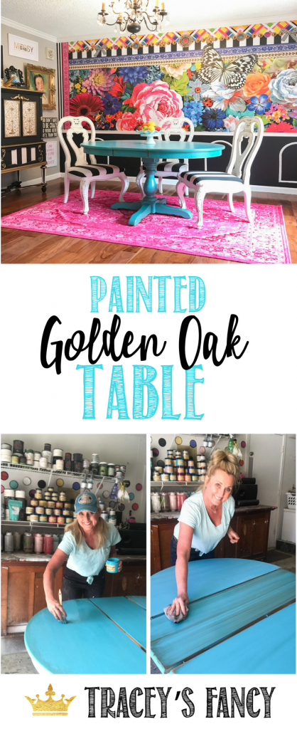 How to Paint Golden Oak Furniture by Tracey's Fancy |#furnituremakeover Oak Furniture Makeover | Teal table | #Dixiebellepaint