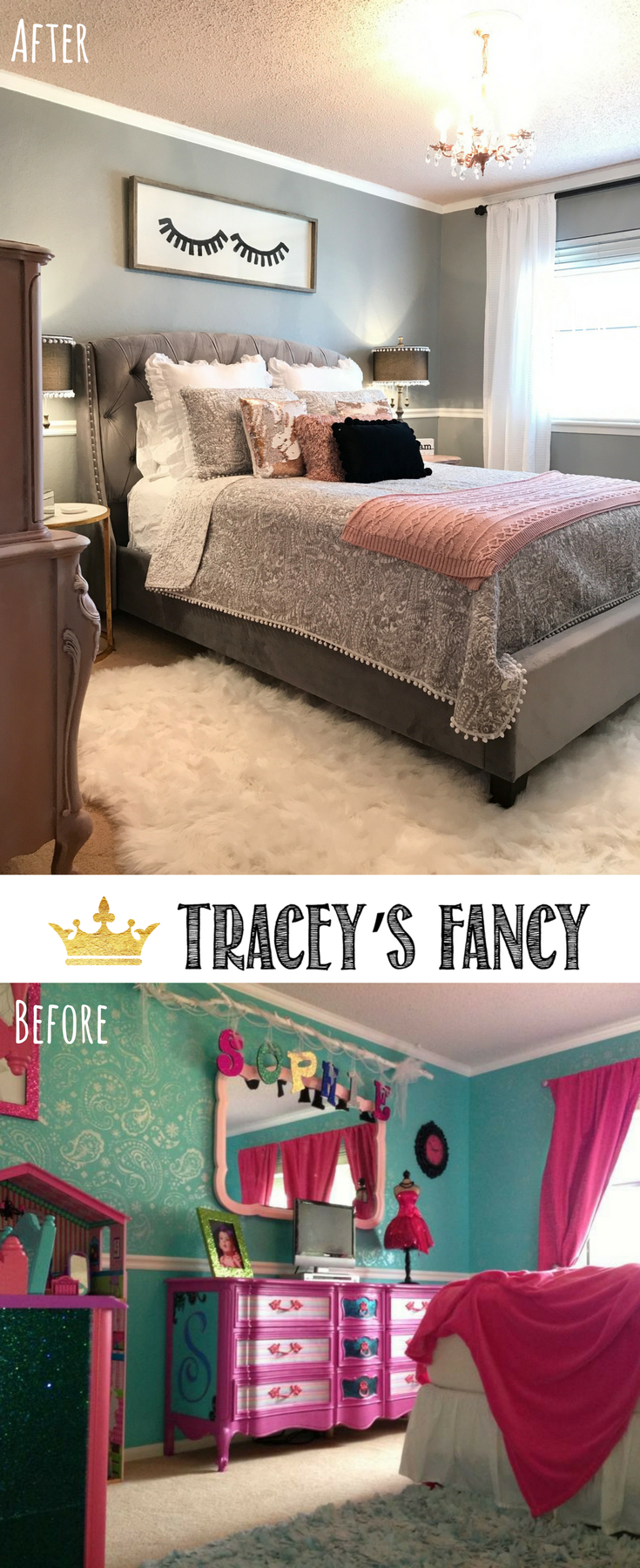 Rose Gold + Gray Girls Room Makeover by Tracey's Fancy