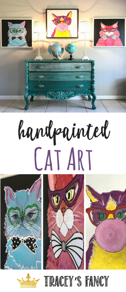 Cat Art by Tracey's Fancy_ Hand-painted Cat Art and Wall Art, Cat Artwork, Cat Gift Ideas, ANimal Lover, Pet Owner, Pet Art, DIY Art Ideas, Wall Decor for the #catlover #catlife #catoftheday