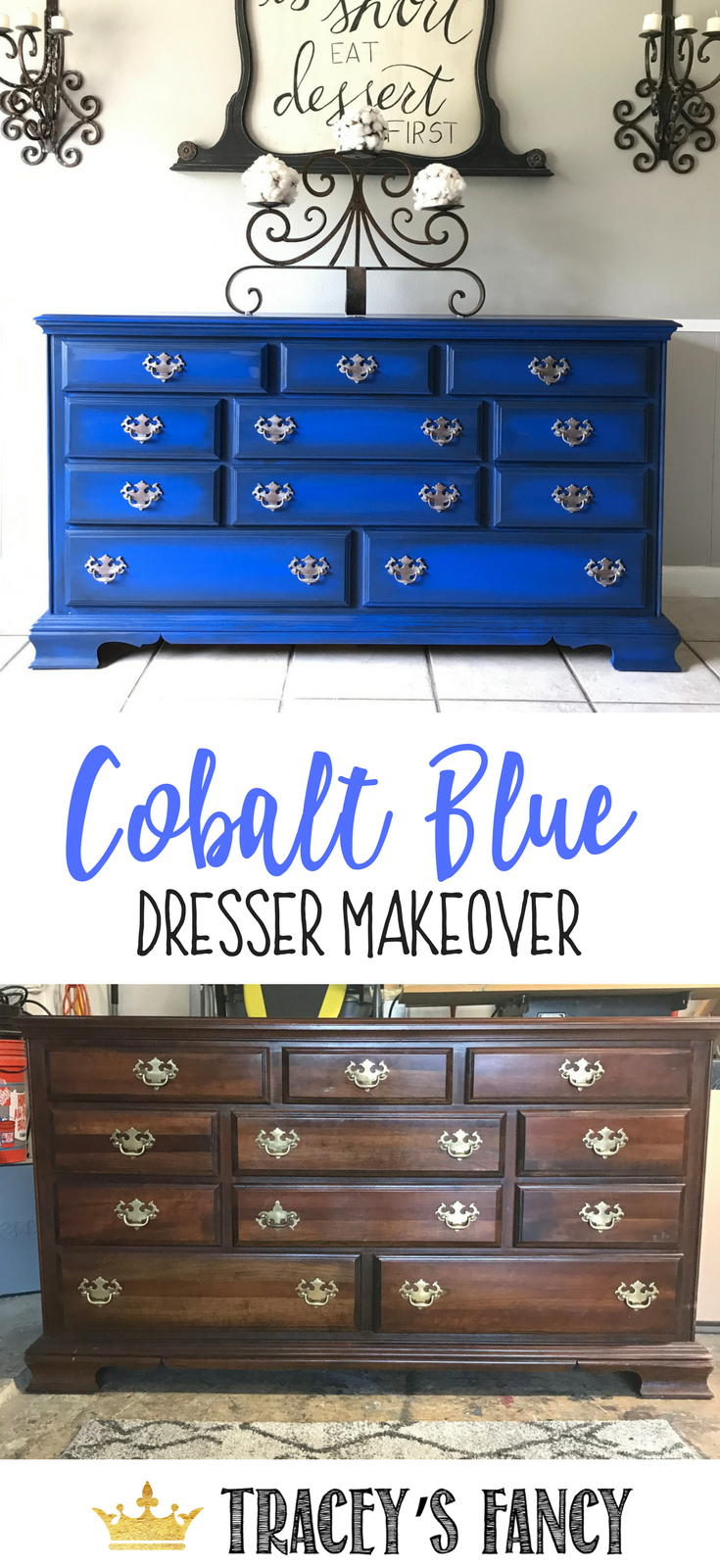 Bright Cobalt Blue Dresser Makeover by Tracey's Fancy with DixieBellePaint #Bluefurniture Blue Painted Furniture #paintcolorblue