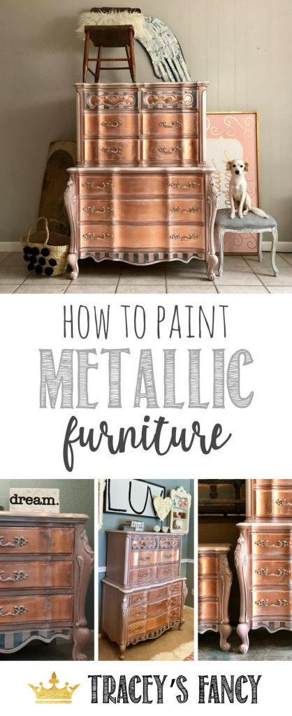 How To Paint Metallic Furniture By Traceyu0027s Fancy #rosegold Painted  Furniture Ideas Girls Bedroom Furniture .