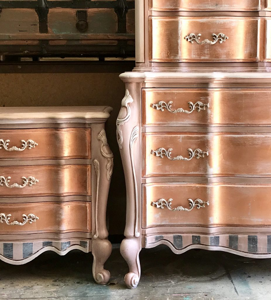 How to Paint Rose Gold Metallic Furniture