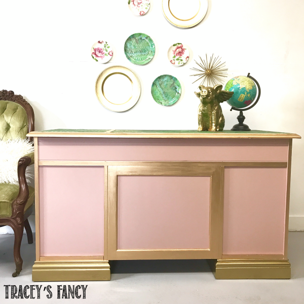 Malachite Desk Makeover-Back Side-Tracey's Fancy-After_