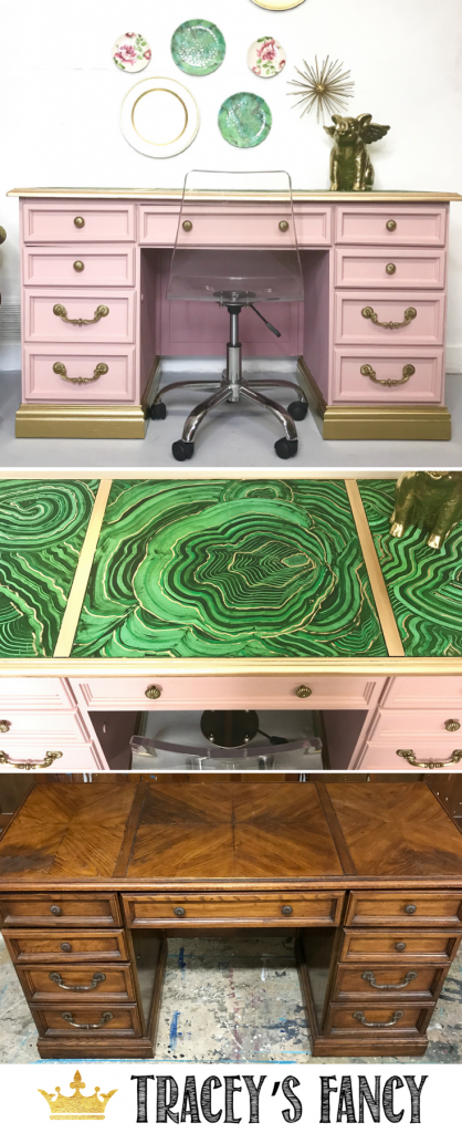 Malachite Desk Makeover Tracey's Fancy 735x1800 _ Mineral Print_ Pink & Gold Desk _ Desk Top ideas_Decorating with Malachite
