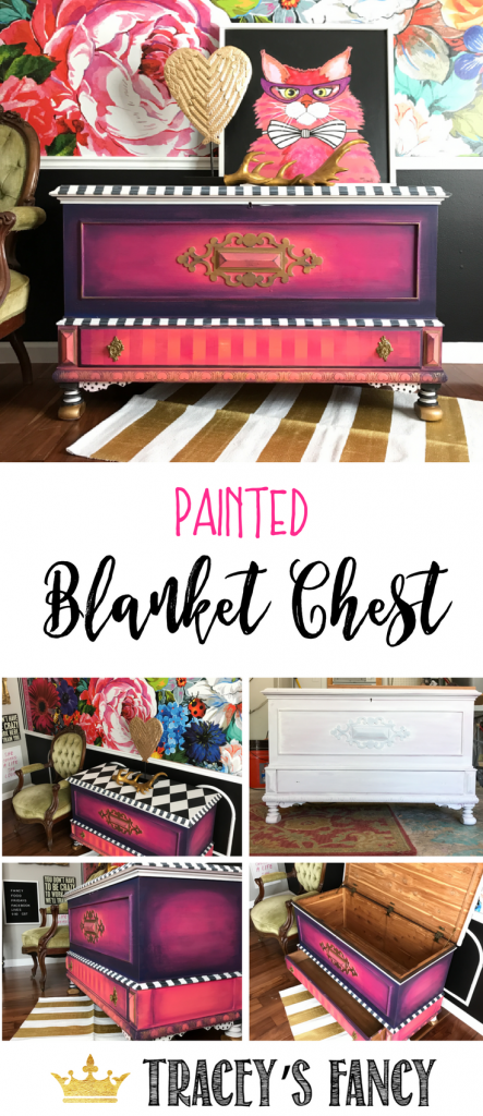 Painted Blanket Trunk Makeover by Tracey's Fancy #furniture #furnituremakeover Painted Hope Chest | Painted Blanket Chest | Blanket Storage Ideas