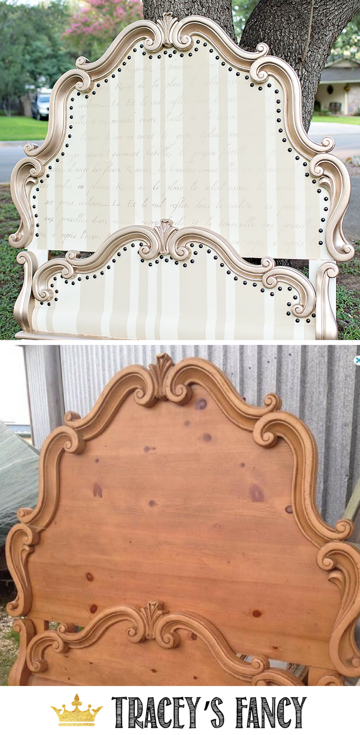 Painted Headboard Before & After Whimsical Bedroom Furniture Tracey's Fancy Fancy #Furnituremakeover #furniture Painted furniture Ideas #whimsical