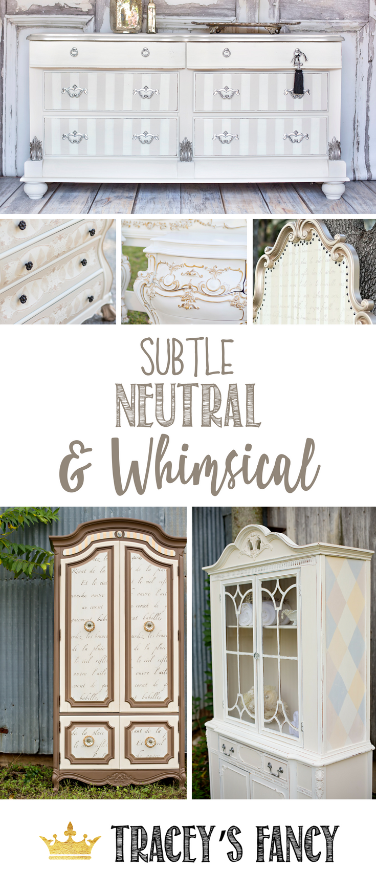 Subtle Neutral and Whimsical Furniture by Tracey's Fancy _ Painted Furniture Ideas _ Neutral Furniture Ideas _ #furnituremakeover #whimsical