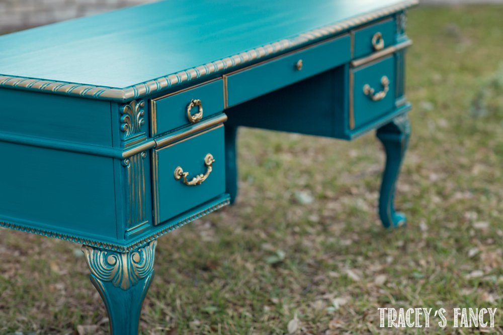 Teal and Gold Painted Desk Tracey's Fancy