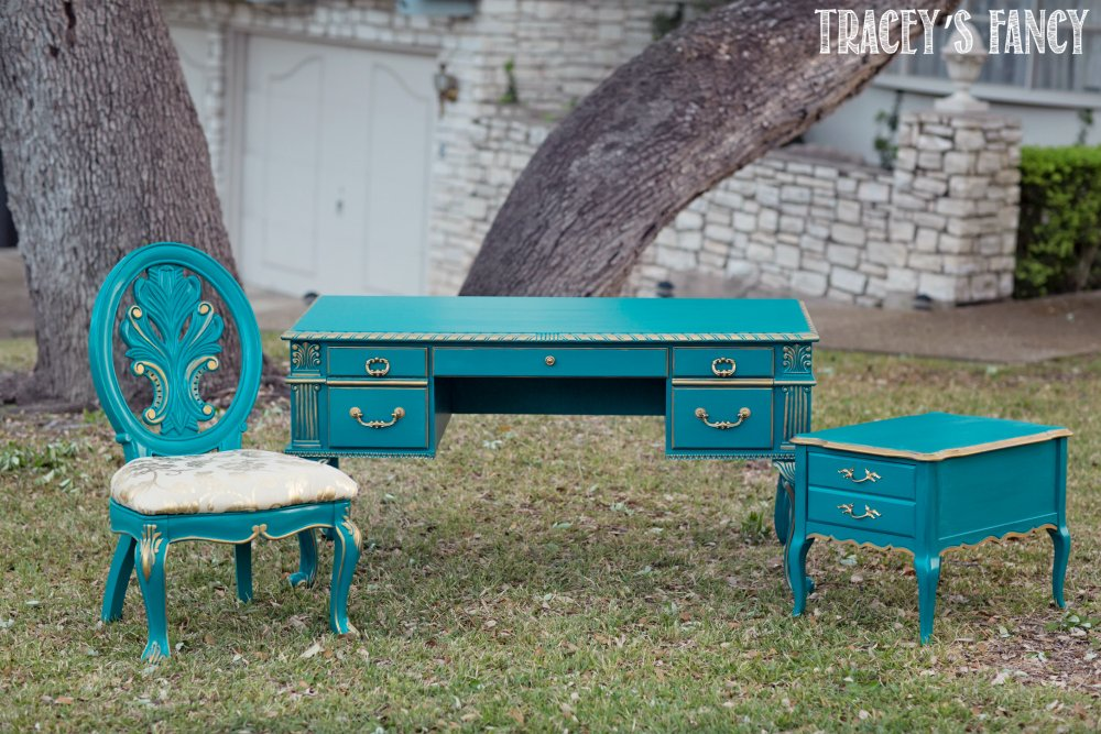 Teal And Gold Painted Desk Traceyu0027s Fancy