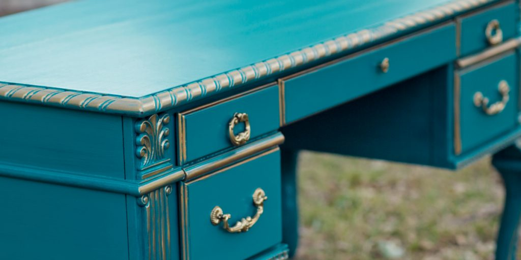 Teal and Gold Painted Desk