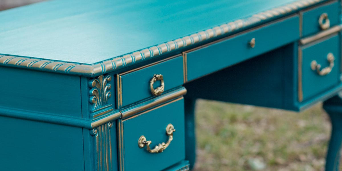 Teal And Gold Painted Desk By Tracey S Fancy