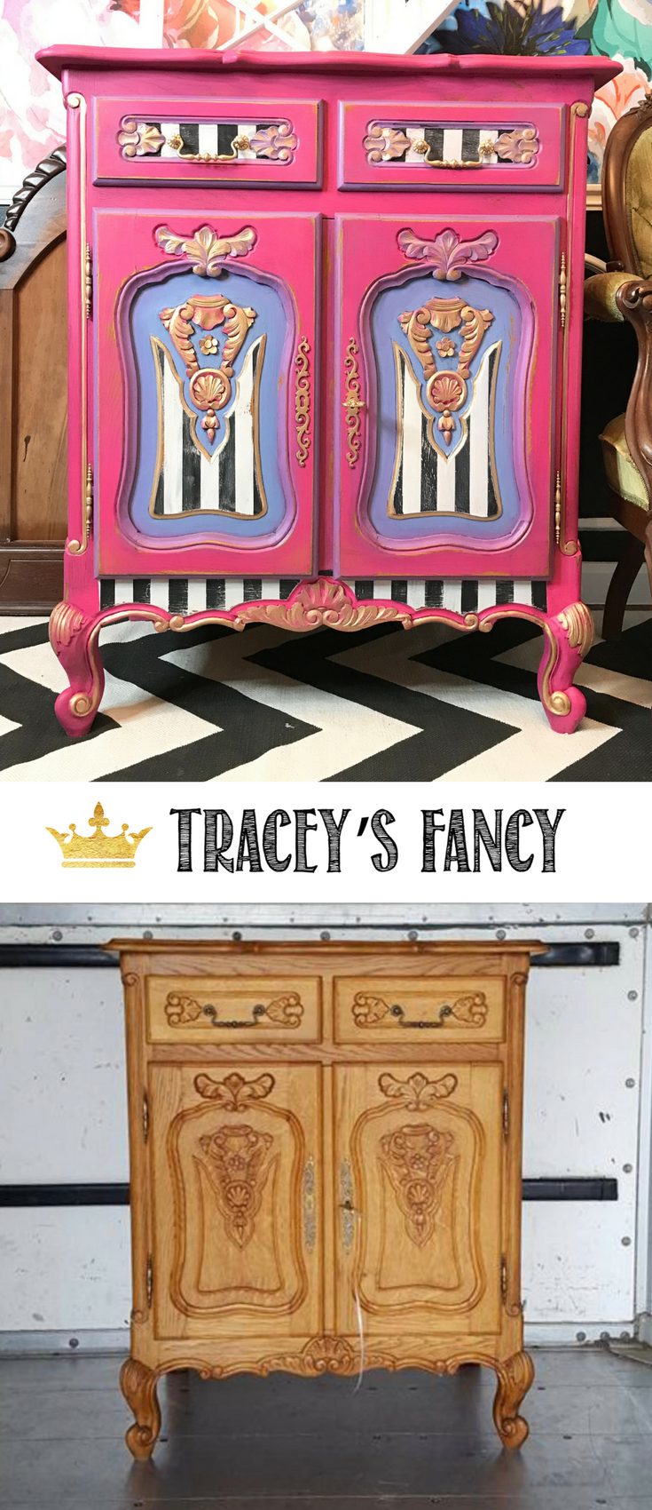 Striped Furniture Ideas - FancyTuxedo Mini Chest by Tracey's Fancy | #furniture #furnituremakeover