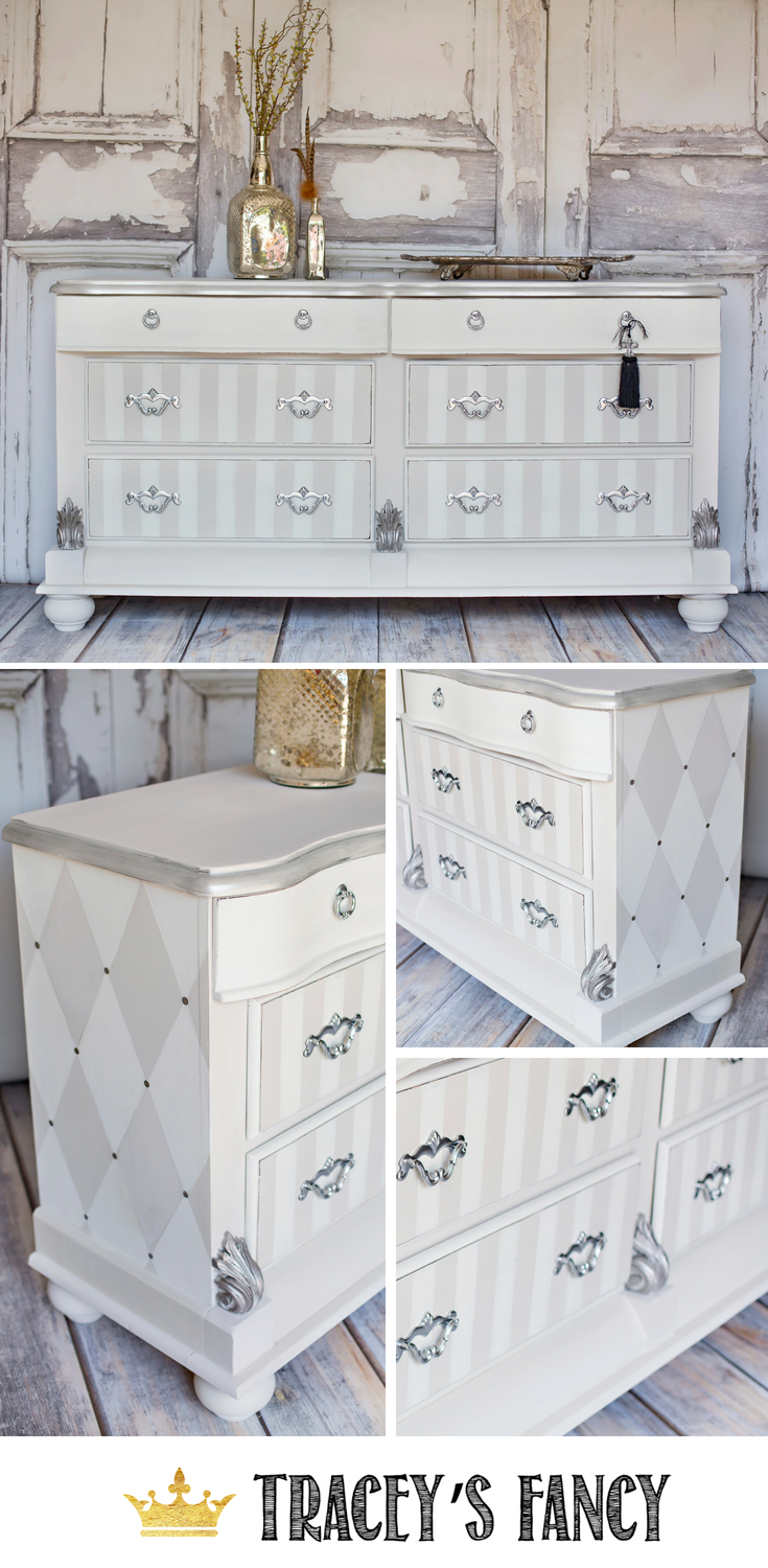Lovely Neutral Whimsical Dresser Tracey's Fancy #furnituremakeover #paintedfurniture