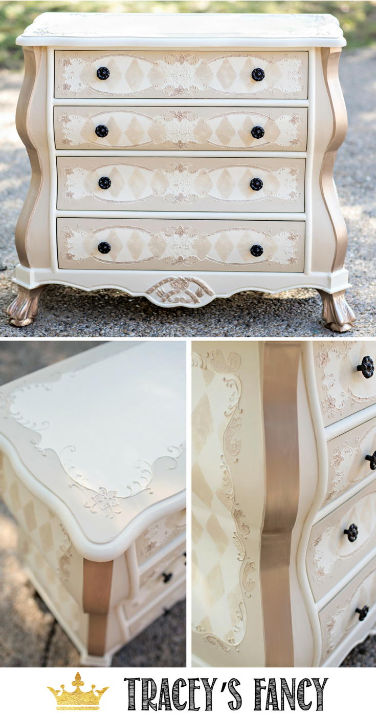 Whimsical Furniture DIY by Tracey's Fancy -Tone on Tone Harlequin | Whimsical Pattern #furniture #furnituremakeover | How to Paint Furniture | Whimsical Furniture Ideas | Neutral Furniture Ideas | Painted Endtable