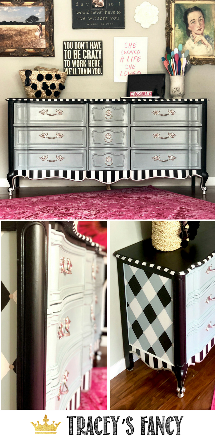Elegant Whimsical Dresser by Tracey's Fancy Black and White Stripes, Gray Painted Furniture, Fun Furniture, Funky Furniture, Whimsical Furniture #furnituremakeover #whimsy #whimsical