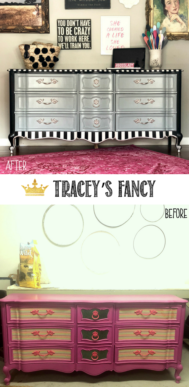 Elegant Whimsical Dresser by Tracey's Fancy #Furnituremakeover #furniture Whimsical Painted furniture Ideas #gray #blackandwhite #whimsy before and after