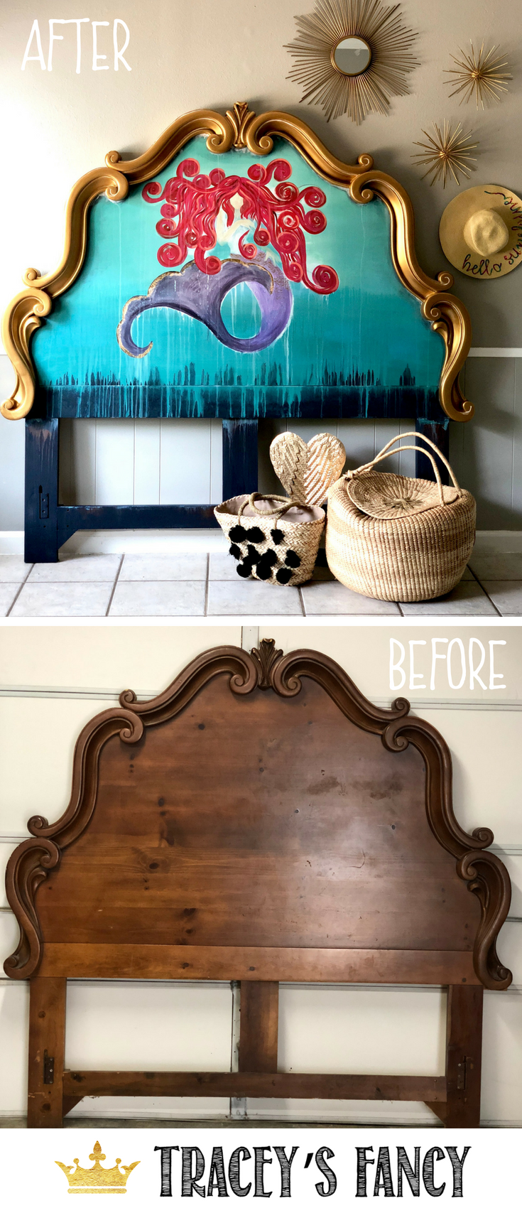 Mermaid Headboard and Whimsical Painted Headboard Ideas by Tracey's Fnacy #Furnituremakeover