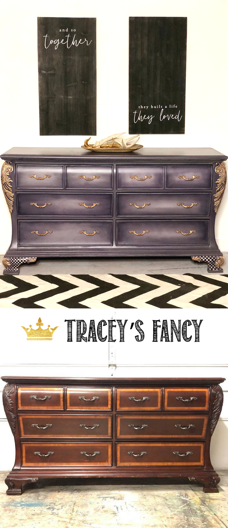Purple Whimsical Painted Dresser before and after by Tracey's Fancy #Furnituremakeover | Painted Furniture Ideas | Colorful Furniture | Purple Furniture