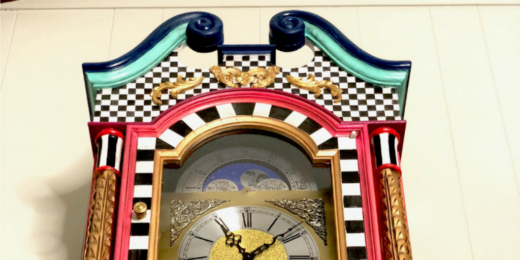 Whimsical Painted Grandfather Clock