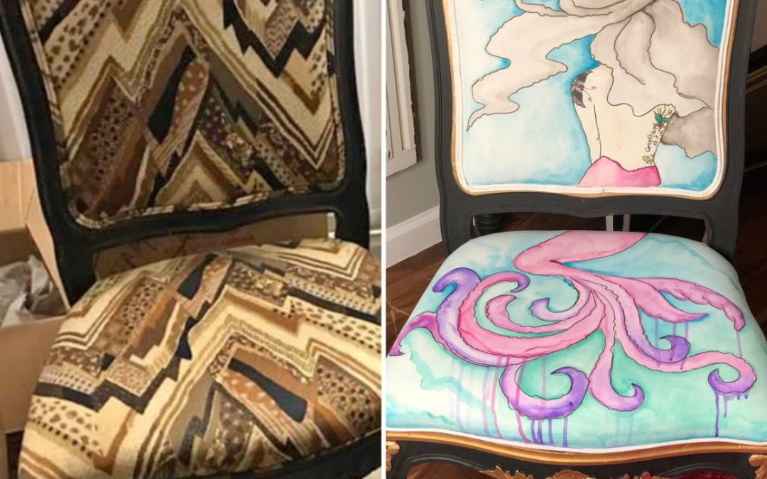 Whimsical Watercolor Mermaid Chair – An Ugly Fabric Chair Project