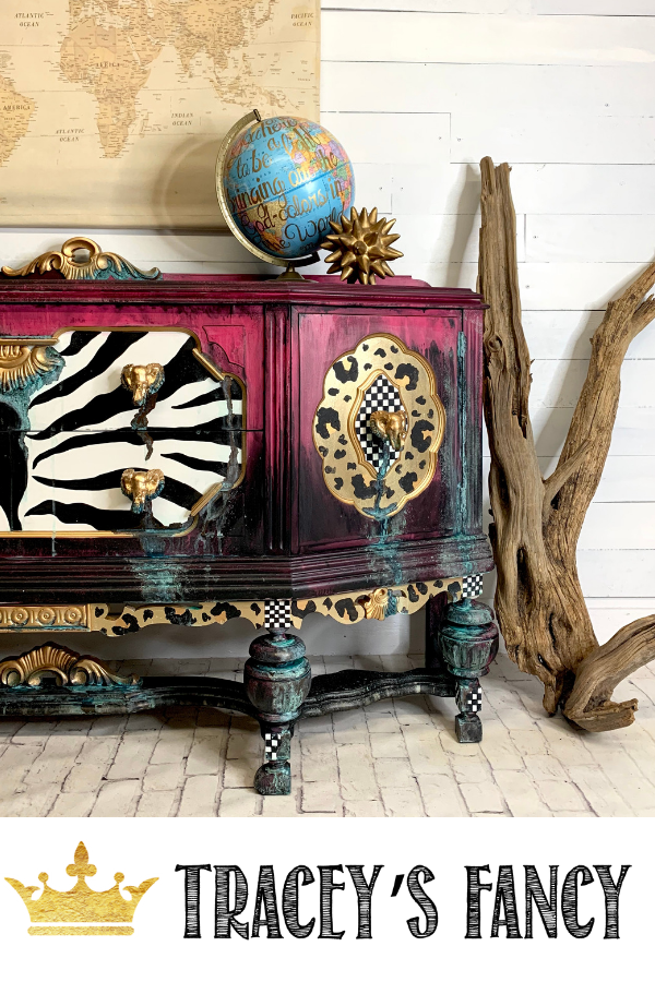 Whimsical Painted Buffet with Leopard, Zebra, Check and Patina by Tracey's Fancy