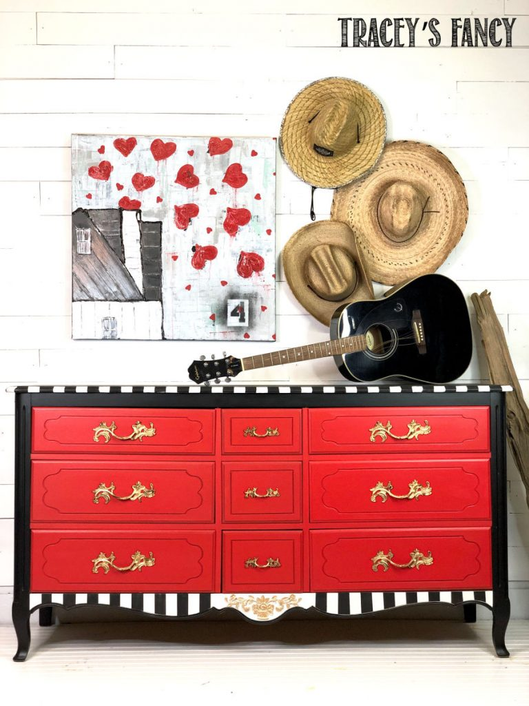 Red Whimsical Dresser by Traceys Fancy