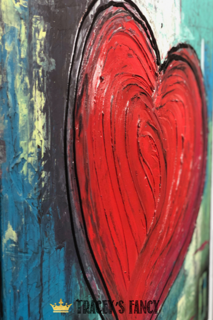 Textured Heart on Canvas with an impasto style finish by Traceys Fancy