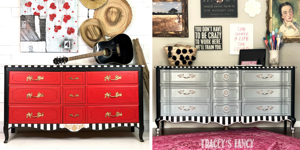Red & Elegant Whimsical Dresser Side-by-side Comparison by Traceys Fancy