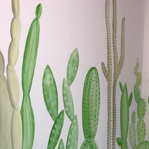 Neutral cactus wall mural for a tranquil nursery space