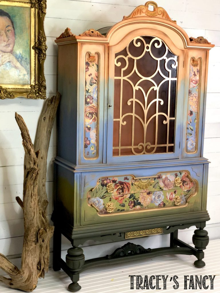 floral ombre china cabinet by Traceys Fancy