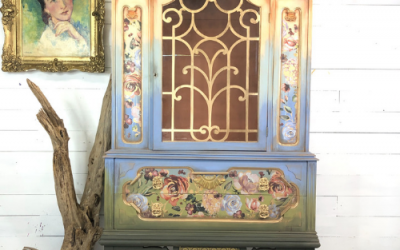 Color Washed Floral Ombre China Cabinet