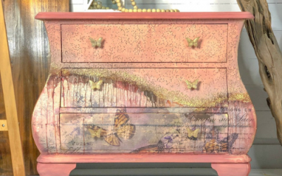 Butterfly Bombe Chest with Textured Elegance