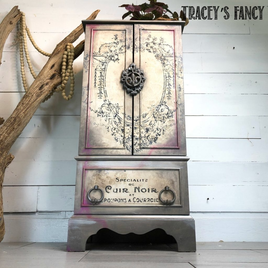 Whimsical Painted Jewelry Armoire with design transfers by Traceys Fancy
