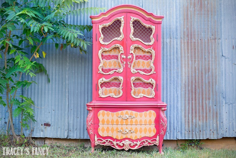 French orange and pink whimsical harlequin patterned armoire by Traceys Fancy