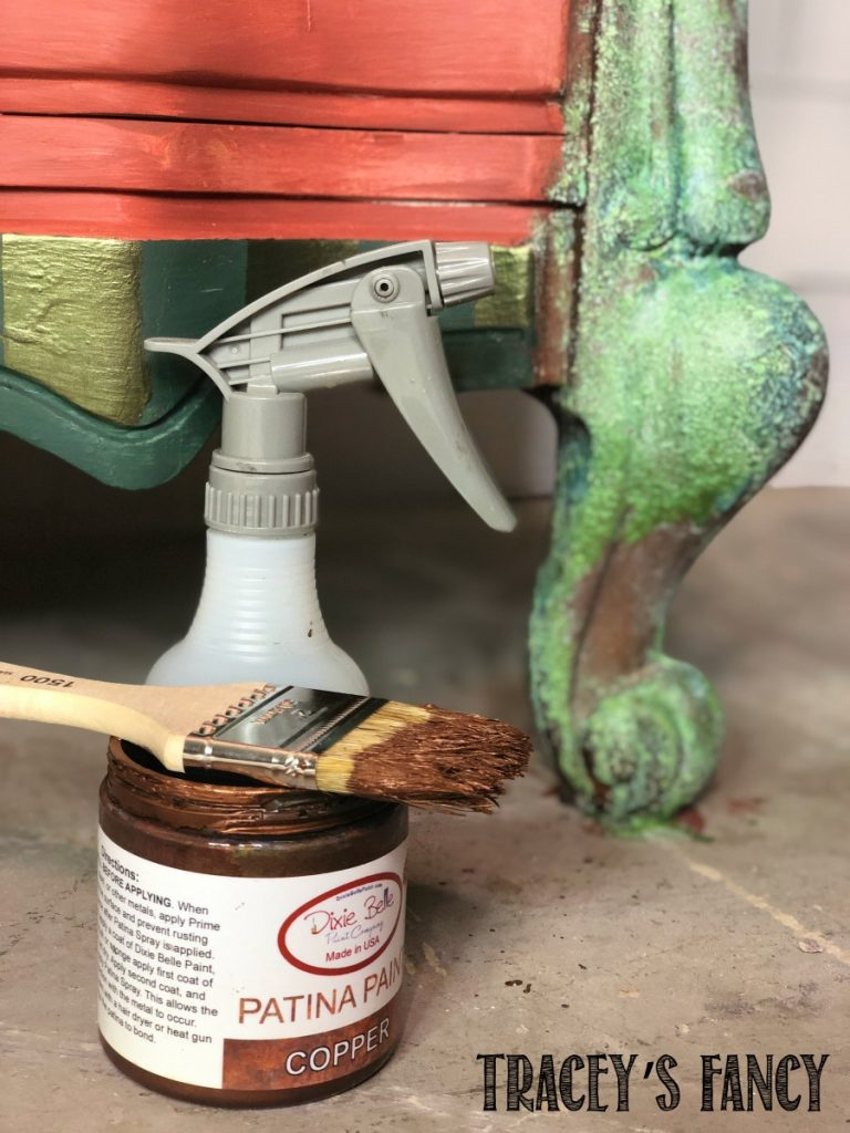floral furniture transfer dresser with patina by Tracey's Fancy